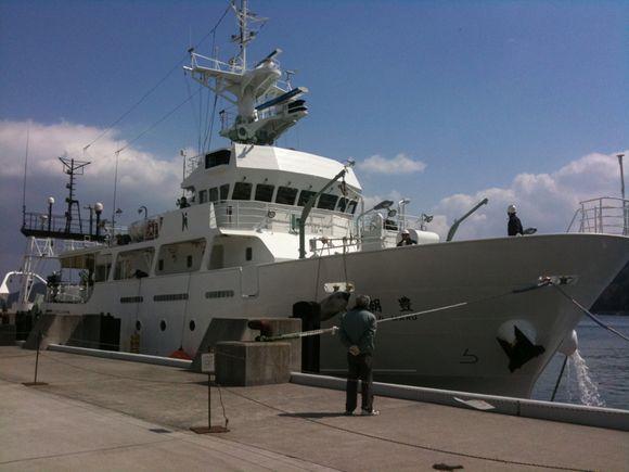 広島大学の豊潮丸が伊保田港に寄港しなぎさ水族館に先生方と学生たちが来館。