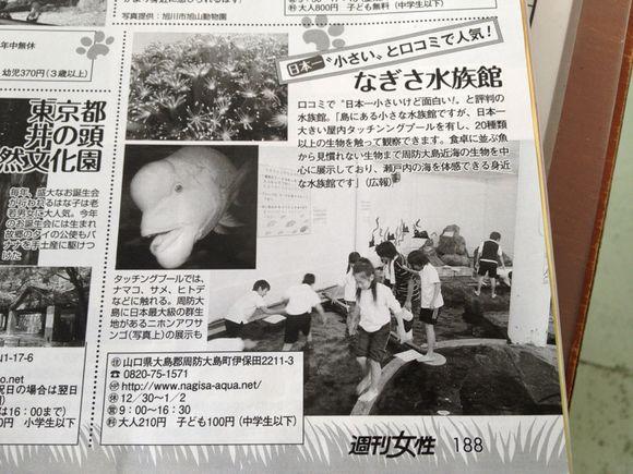 週間女性4月3日号に、なぎさ水族館が掲載!