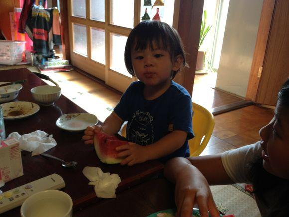 お盆は伊保田の実家で子どもたちは夏休み