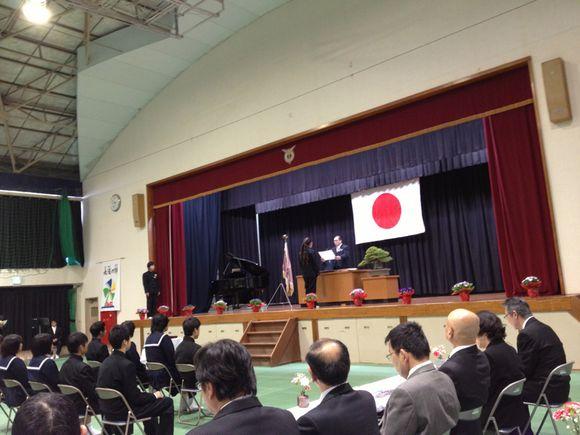 周防大島町立東和中学校の卒業式に参加させて頂きました。
