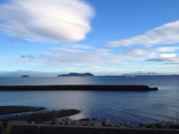 台風一過、周防大島から広島の眺め